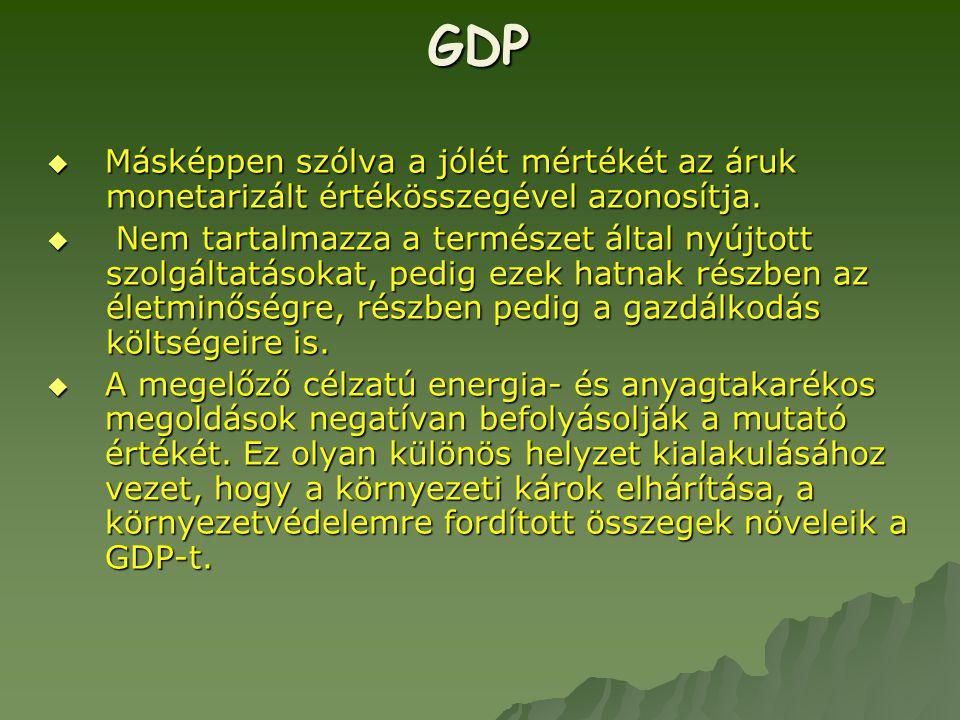 GDP  Másképpen szólva a jólét mértékét az áruk monetarizált értékösszegével azonosítja.  Nem tartalmazza a természet által nyújtott szolgáltatásokat