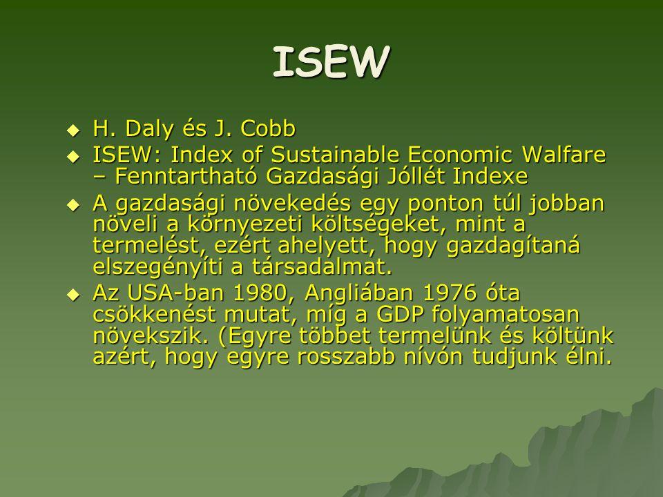 ISEW  H. Daly és J. Cobb  ISEW: Index of Sustainable Economic Walfare – Fenntartható Gazdasági Jóllét Indexe  A gazdasági növekedés egy ponton túl