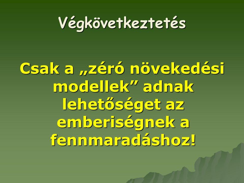 """Végkövetkeztetés Csak a """"zéró növekedési modellek"""" adnak lehetőséget az emberiségnek a fennmaradáshoz!"""