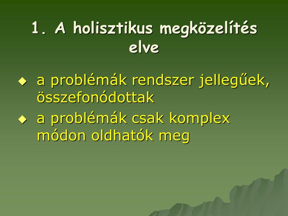  a problémák rendszer jellegűek, összefonódottak  a problémák csak komplex módon oldhatók meg 1. A holisztikus megközelítés elve