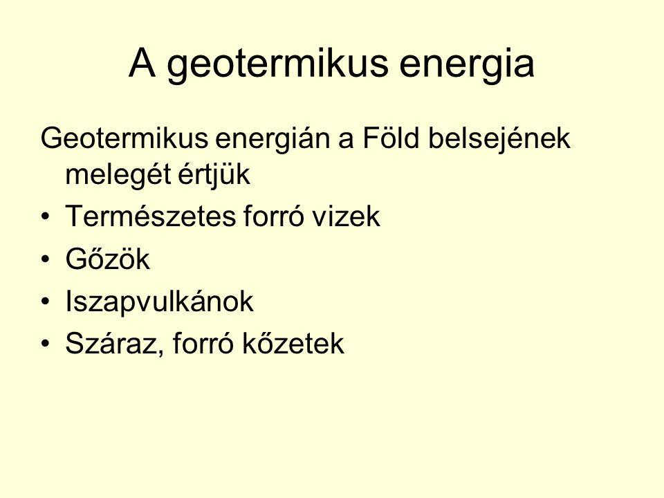 A geotermikus energia Geotermikus energián a Föld belsejének melegét értjük Természetes forró vizek Gőzök Iszapvulkánok Száraz, forró kőzetek
