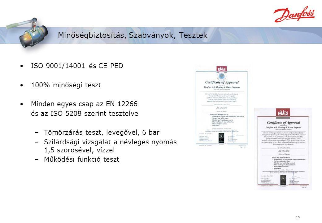 19 Minőségbiztosítás, Szabványok, Tesztek ISO 9001/14001 és CE-PED 100% minőségi teszt Minden egyes csap az EN 12266 és az ISO 5208 szerint tesztelve –Tömörzárás teszt, levegővel, 6 bar –Szilárdsági vizsgálat a névleges nyomás 1,5 szörösével, vízzel –Működési funkció teszt