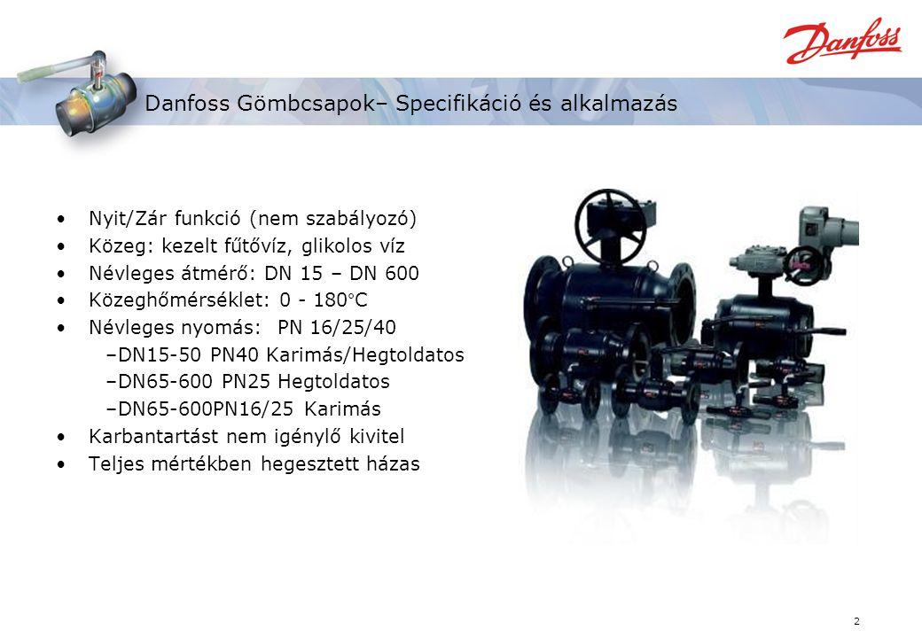 2 Danfoss Gömbcsapok– Specifikáció és alkalmazás Nyit/Zár funkció (nem szabályozó) Közeg: kezelt fűtővíz, glikolos víz Névleges átmérő: DN 15 – DN 600 Közeghőmérséklet: 0 - 180°C Névleges nyomás: PN 16/25/40 –DN15-50 PN40 Karimás/Hegtoldatos –DN65-600 PN25 Hegtoldatos –DN65-600PN16/25 Karimás Karbantartást nem igénylő kivitel Teljes mértékben hegesztett házas