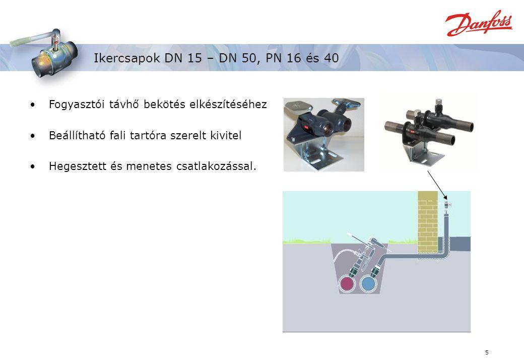 5 Ikercsapok DN 15 – DN 50, PN 16 és 40 Fogyasztói távhő bekötés elkészítéséhez Beállítható fali tartóra szerelt kivitel Hegesztett és menetes csatlakozással.