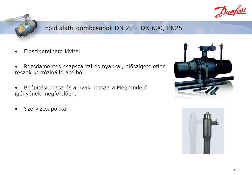 6 Föld alatti gömbcsapok DN 20 – DN 600, PN25 Előszigetelhető kivitel.