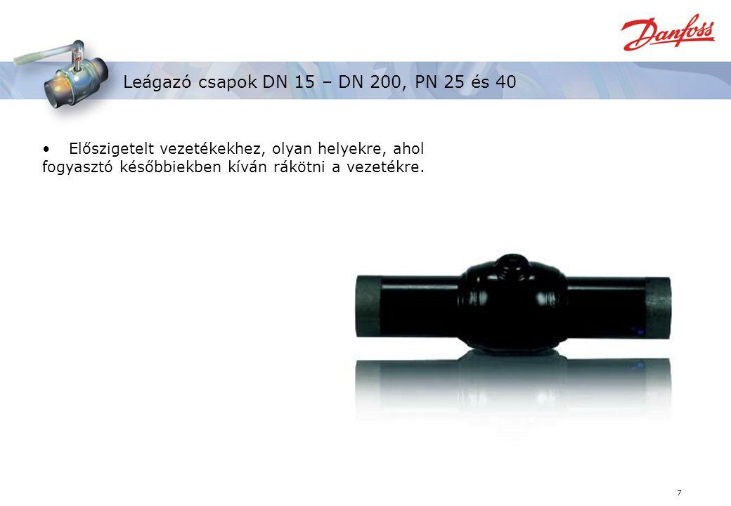 7 Leágazó csapok DN 15 – DN 200, PN 25 és 40 Előszigetelt vezetékekhez, olyan helyekre, ahol fogyasztó későbbiekben kíván rákötni a vezetékre.