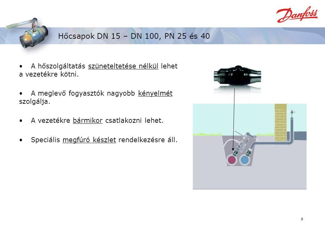 8 Hőcsapok DN 15 – DN 100, PN 25 és 40 A hőszolgáltatás szüneteltetése nélkül lehet a vezetékre kötni.