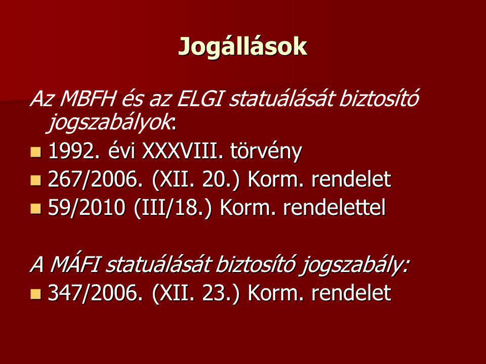 Jogállások : Az MBFH és az ELGI statuálását biztosító jogszabályok: 1992. évi XXXVIII. törvény 1992. évi XXXVIII. törvény 267/2006. (XII. 20.) Korm. r