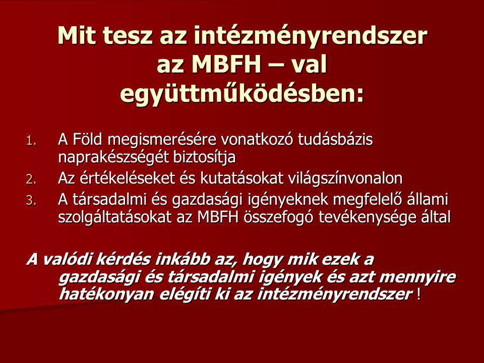 Mit tesz az intézményrendszer az MBFH – val együttműködésben: 1. A Föld megismerésére vonatkozó tudásbázis naprakészségét biztosítja 2. Az értékelések