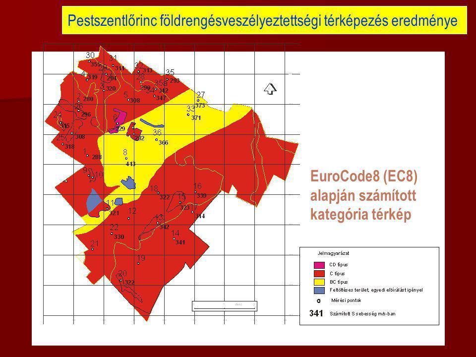 Pestszentlőrinc földrengésveszélyeztettségi térképezés eredménye EuroCode8 (EC8) alapján számított kategória térkép