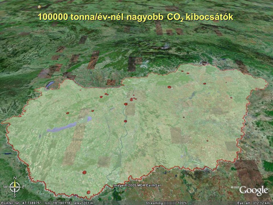 100000 tonna/év-nél nagyobb CO 2 kibocsátók