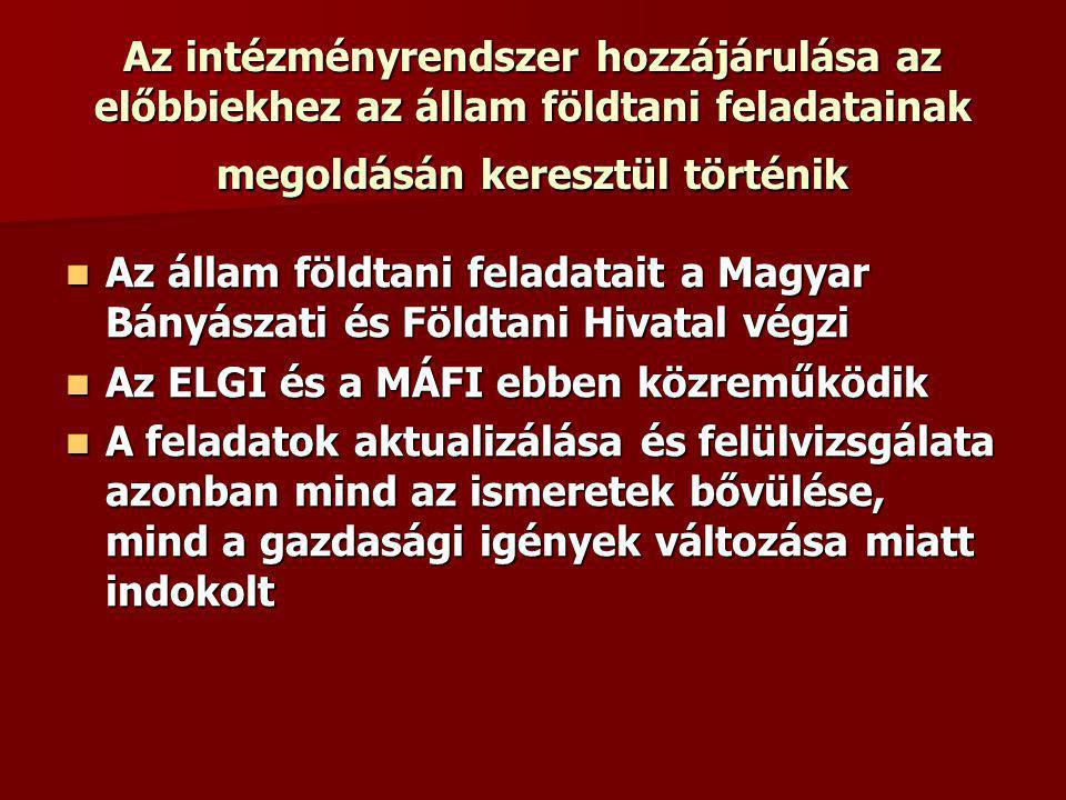 Az intézményrendszer hozzájárulása az előbbiekhez az állam földtani feladatainak megoldásán keresztül történik Az állam földtani feladatait a Magyar Bányászati és Földtani Hivatal végzi Az állam földtani feladatait a Magyar Bányászati és Földtani Hivatal végzi Az ELGI és a MÁFI ebben közreműködik Az ELGI és a MÁFI ebben közreműködik A feladatok aktualizálása és felülvizsgálata azonban mind az ismeretek bővülése, mind a gazdasági igények változása miatt indokolt A feladatok aktualizálása és felülvizsgálata azonban mind az ismeretek bővülése, mind a gazdasági igények változása miatt indokolt