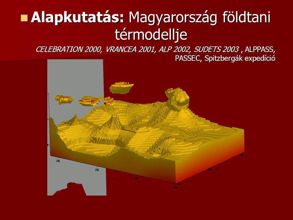 Alapkutatás: Magyarország földtani térmodellje Alapkutatás: Magyarország földtani térmodellje CELEBRATION 2000, VRANCEA 2001, ALP 2002, SUDETS 2003, ALPPASS, PASSEC, Spitzbergák expedíció