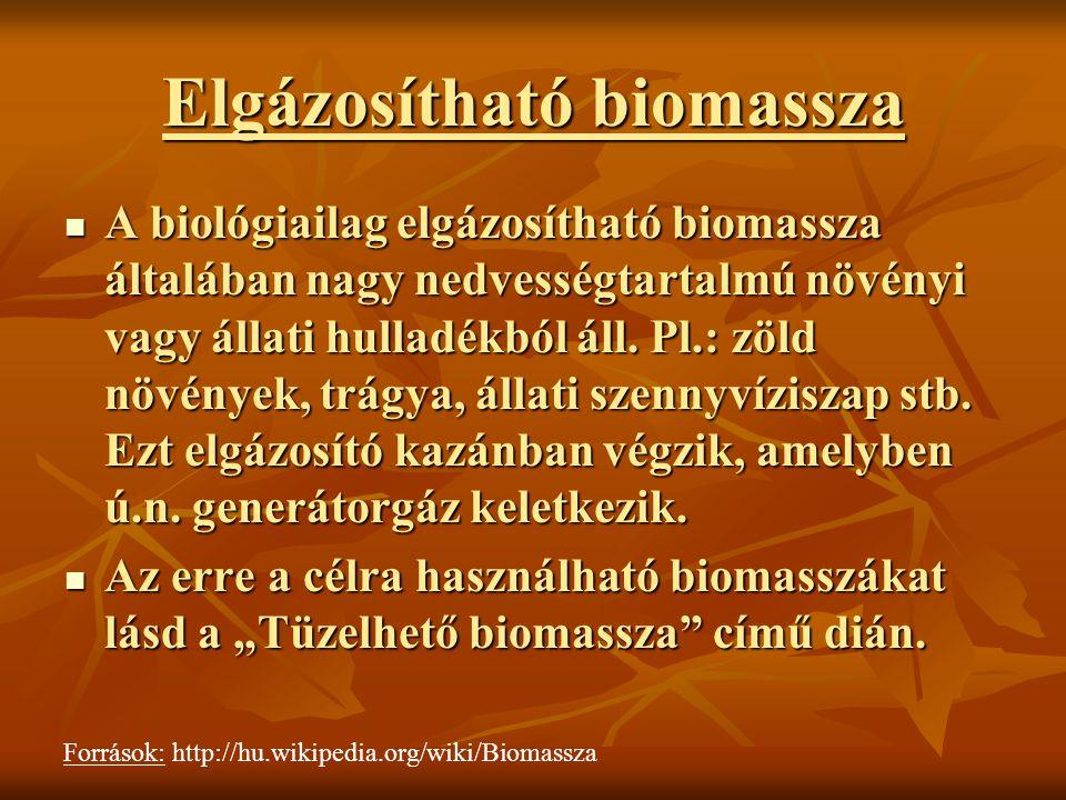 Elgázosítható biomassza A biológiailag elgázosítható biomassza általában nagy nedvességtartalmú növényi vagy állati hulladékból áll. Pl.: zöld növénye