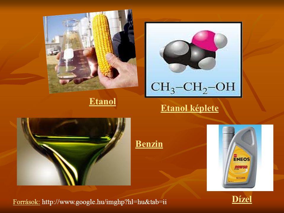 Források: http://www.google.hu/imghp?hl=hu&tab=ii Dízel Etanol Etanol képlete Benzin