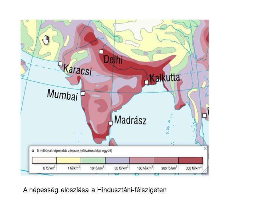 A népesség eloszlása a Hindusztáni-félszigeten