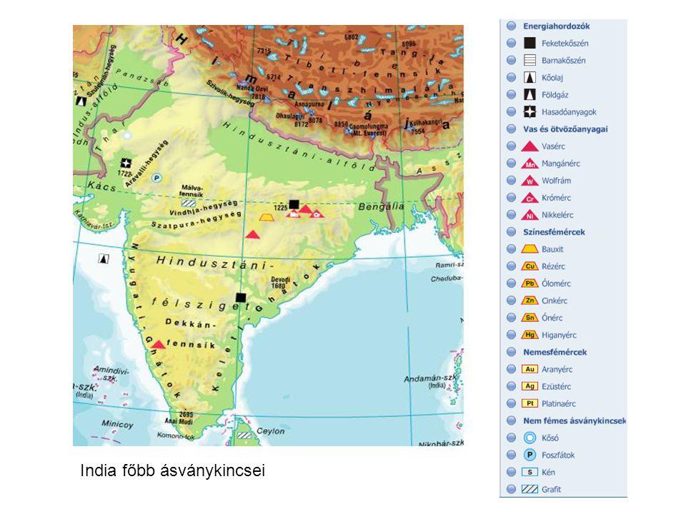 """Ipara Vegyipara közel-keleti olajra épül (központjai a kikötőkben), energiaipara a széntüzelésű erőművekre támaszkodik van néhány atomerőművük is Vezető iparág: még mindig a könnyűipar -textilipar =gyapot- (pamutot gyártnak belőle!) és juta-feldolgozás, központjai: Bombay (Mumbai) és Kalkutta (Kolkata) + selyemipara is vn Gyáripar nagy része a kikötővárosokban, és a kitermelőhelyeken tömörül ezek közül jelentős a Damodar-völgy= """"az indiai Ruhr-vidék hatalmas kőszén, vasérc és mangánérc (exportja Föld 1.) telepekre korszerű nagyüzemek települtek, Nagpurnál is hatalmas vasérctelepek (vasérc termelésben Föld 6.) Gépgyártása:közlekedési eszközök gyártása (vasúti-, vízi-, személygépkocsi, tehergk) különféle licenszek és időnként leselejtezett gyártósorok felhasználásával (ld."""