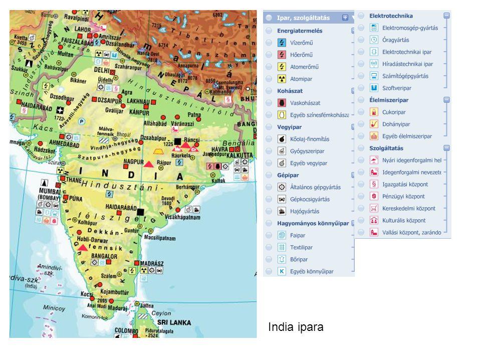 """Kereskedelme Külkereskedelmi exportja gyorsan nő (3x nagyobb Mo-nál) Exportcikkei: textiláruk, drágakövek, számítógép-alkatrészek, szoftverek Szolgáltatások exportjából komoly bevételei vannak (az olcsó, képzett angolul tudó munkaerőre építkezik): –a szoftvergyártás központja Bangalore = """"az indiai Szilícium-völgy –fontos még:könyvelés, support, irodai ruinmunkák,orvosi leletek kiértékelése stb."""
