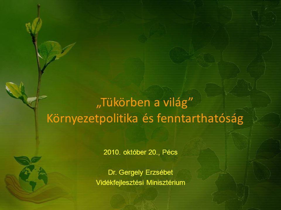 """""""Tükörben a világ"""" Környezetpolitika és fenntarthatóság 2010. október 20., Pécs Dr. Gergely Erzsébet Vidékfejlesztési Minisztérium"""