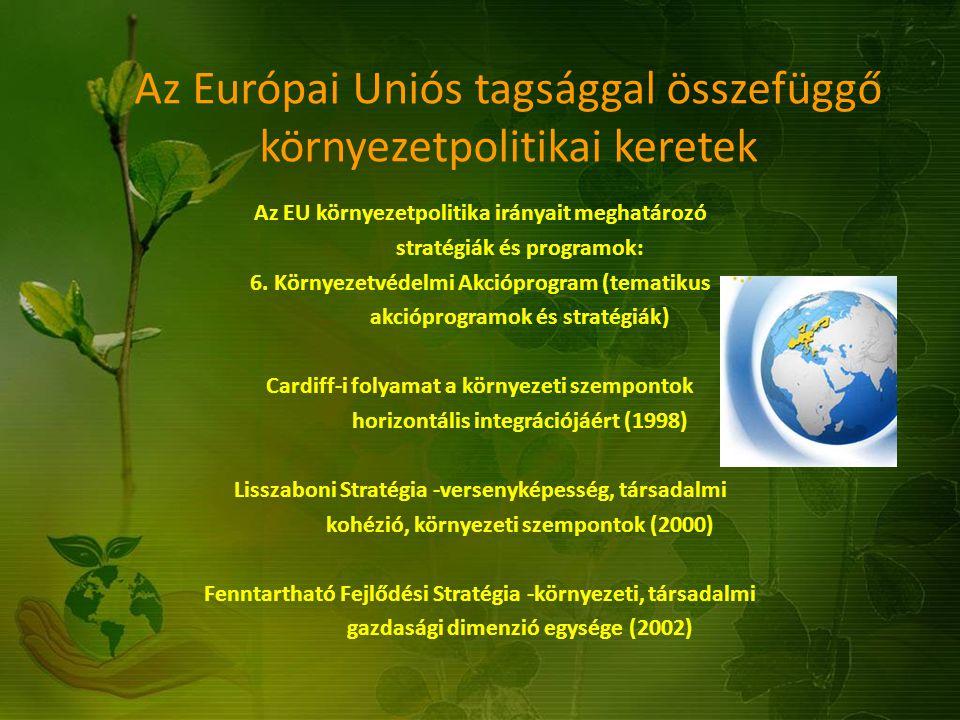 Az Európai Uniós tagsággal összefüggő környezetpolitikai keretek Az EU környezetpolitika irányait meghatározó stratégiák és programok: 6. Környezetvéd