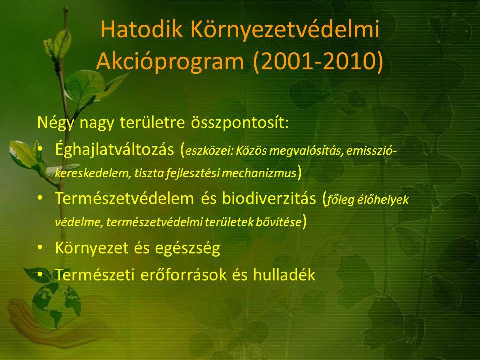 Hatodik Környezetvédelmi Akcióprogram (2001-2010) Négy nagy területre összpontosít: Éghajlatváltozás ( eszközei: Közös megvalósítás, emisszió- kereske