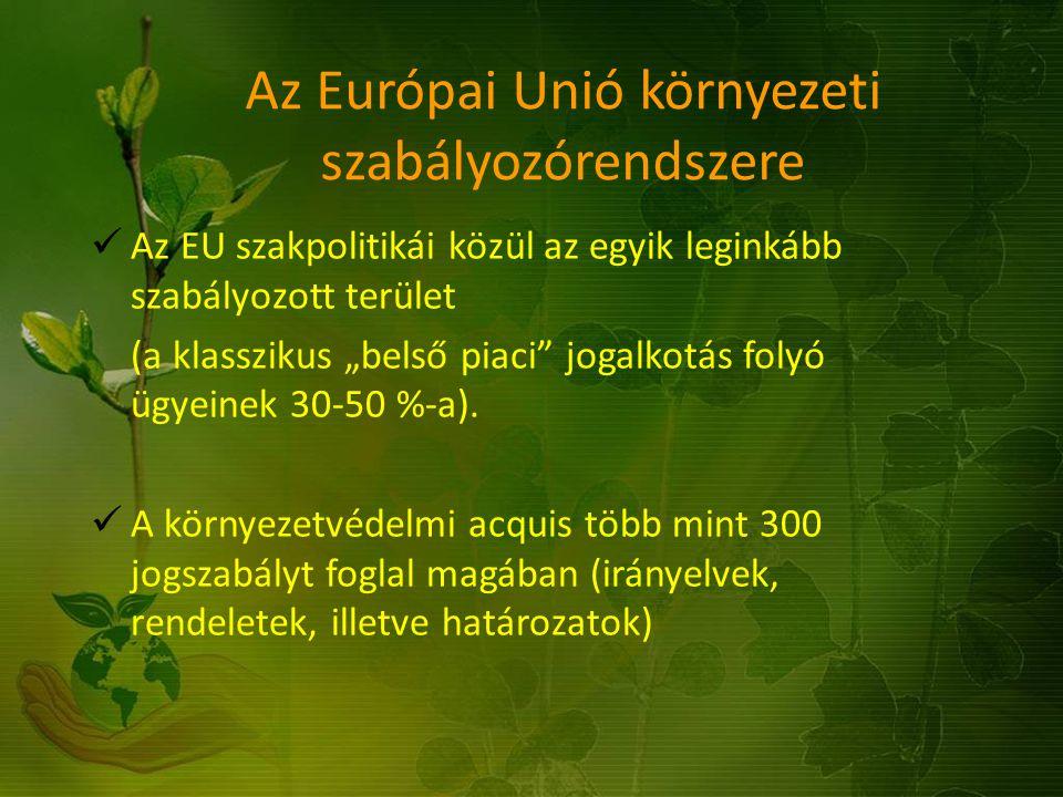 """Az Európai Unió környezeti szabályozórendszere Az EU szakpolitikái közül az egyik leginkább szabályozott terület (a klasszikus """"belső piaci"""" jogalkotá"""