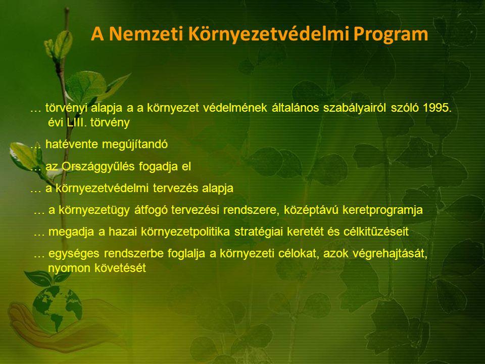A Nemzeti Környezetvédelmi Program … törvényi alapja a a környezet védelmének általános szabályairól szóló 1995. évi LIII. törvény … hatévente megújít