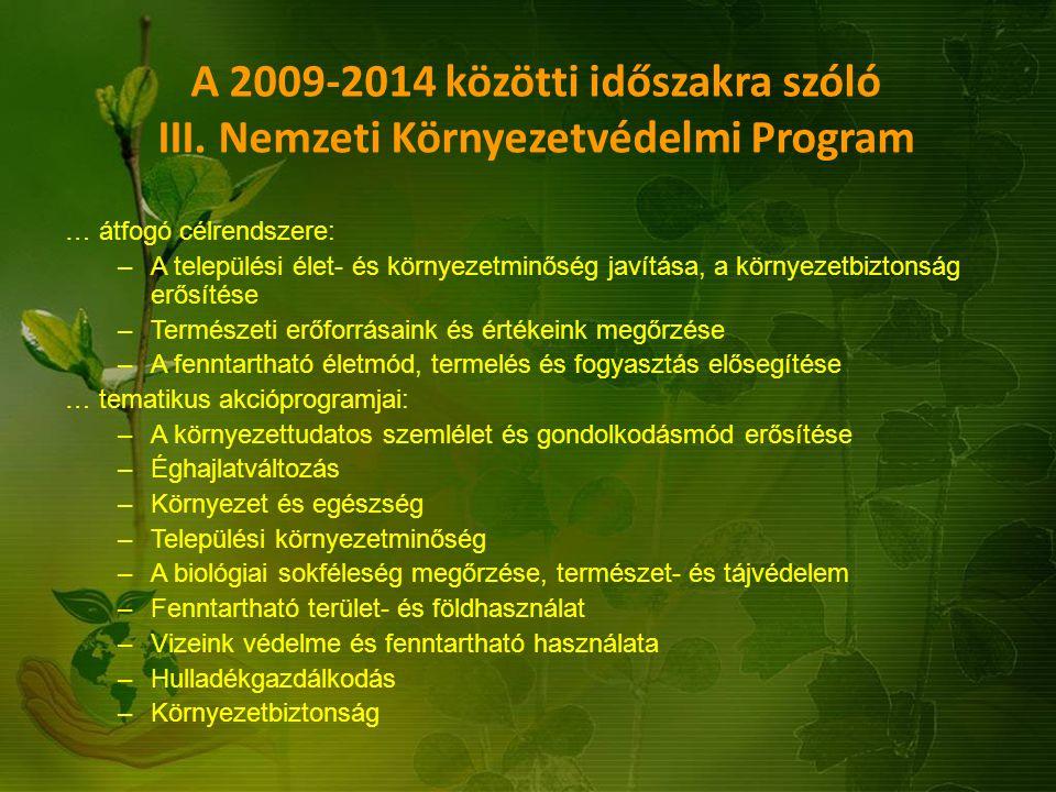 A 2009-2014 közötti időszakra szóló III. Nemzeti Környezetvédelmi Program … átfogó célrendszere: –A települési élet- és környezetminőség javítása, a k
