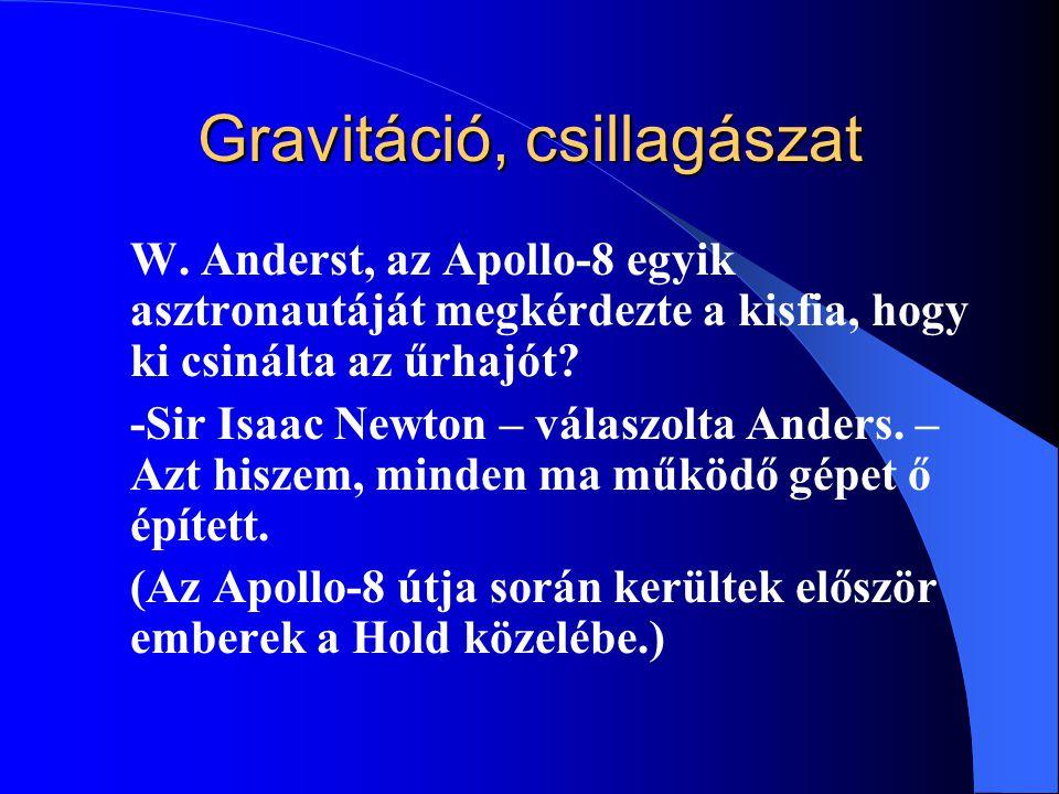 Gravitáció, csillagászat W. Anderst, az Apollo-8 egyik asztronautáját megkérdezte a kisfia, hogy ki csinálta az űrhajót? -Sir Isaac Newton – válaszolt