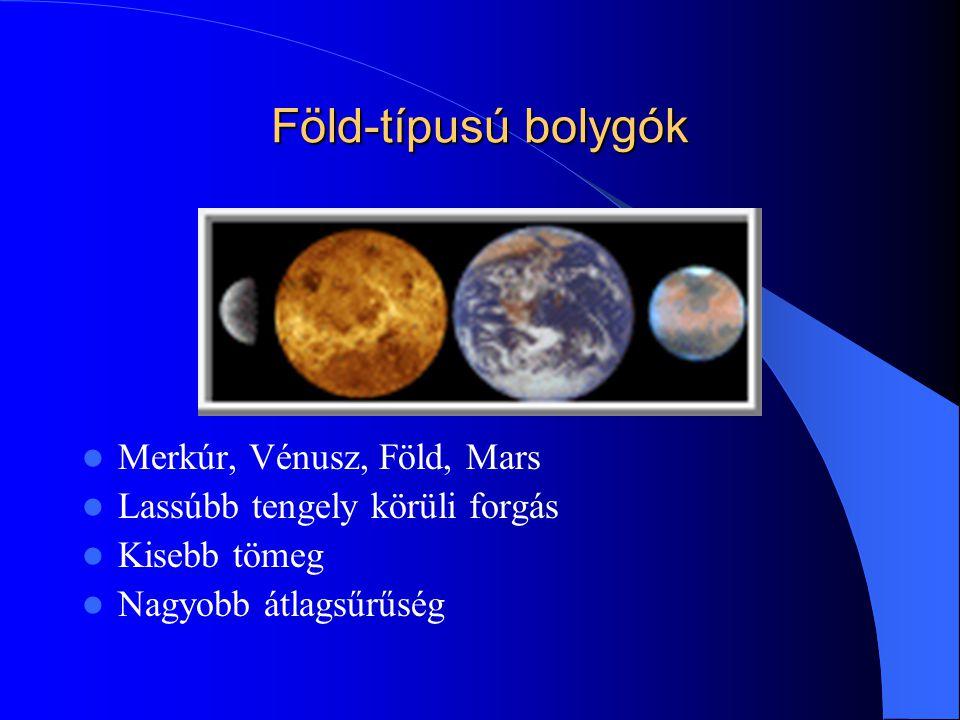 Föld-típusú bolygók Merkúr, Vénusz, Föld, Mars Lassúbb tengely körüli forgás Kisebb tömeg Nagyobb átlagsűrűség