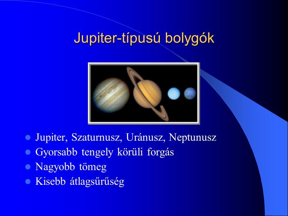 Jupiter-típusú bolygók Jupiter, Szaturnusz, Uránusz, Neptunusz Gyorsabb tengely körüli forgás Nagyobb tömeg Kisebb átlagsűrűség