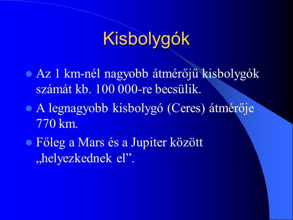 Kisbolygók Az 1 km-nél nagyobb átmérőjű kisbolygók számát kb. 100 000-re becsülik. A legnagyobb kisbolygó (Ceres) átmérője 770 km. Főleg a Mars és a J
