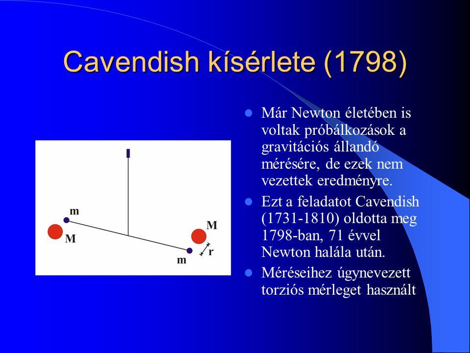 Cavendish kísérlete (1798) Már Newton életében is voltak próbálkozások a gravitációs állandó mérésére, de ezek nem vezettek eredményre. Ezt a feladato