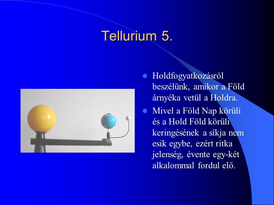 Tellurium 5. Holdfogyatkozásról beszélünk, amikor a Föld árnyéka vetül a Holdra. Mivel a Föld Nap körüli és a Hold Föld körüli keringésének a síkja ne