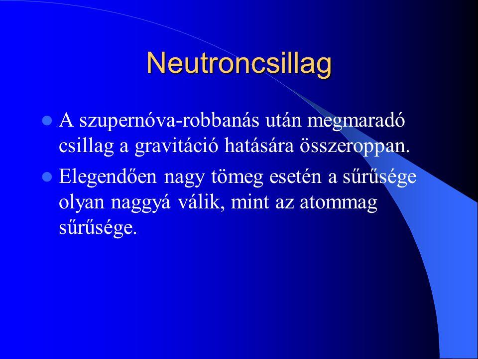 Neutroncsillag A szupernóva-robbanás után megmaradó csillag a gravitáció hatására összeroppan. Elegendően nagy tömeg esetén a sűrűsége olyan naggyá vá