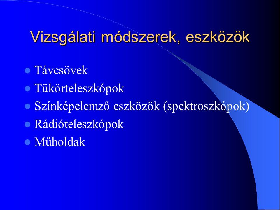 Vizsgálati módszerek, eszközök Távcsövek Tükörteleszkópok Színképelemző eszközök (spektroszkópok) Rádióteleszkópok Műholdak