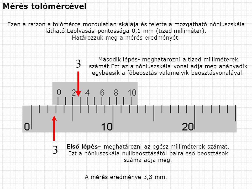A mérés eredménye 3,3 mm. Mérés tolómércével Ezen a rajzon a tolómérce mozdulatlan skálája és felette a mozgatható nóniuszskála látható.Leolvasási pon