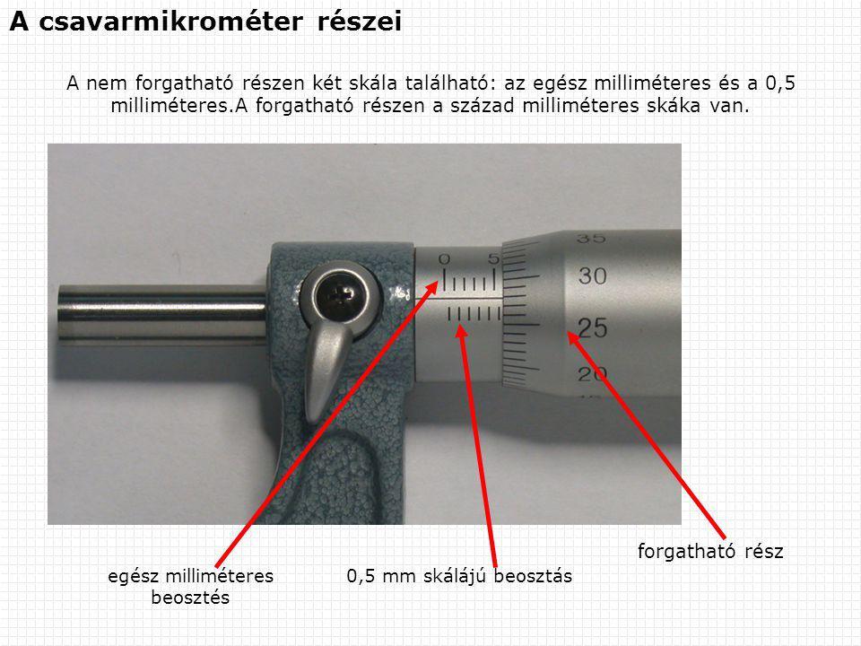 A csavarmikrométer részei A nem forgatható részen két skála található: az egész milliméteres és a 0,5 milliméteres.A forgatható részen a század millim