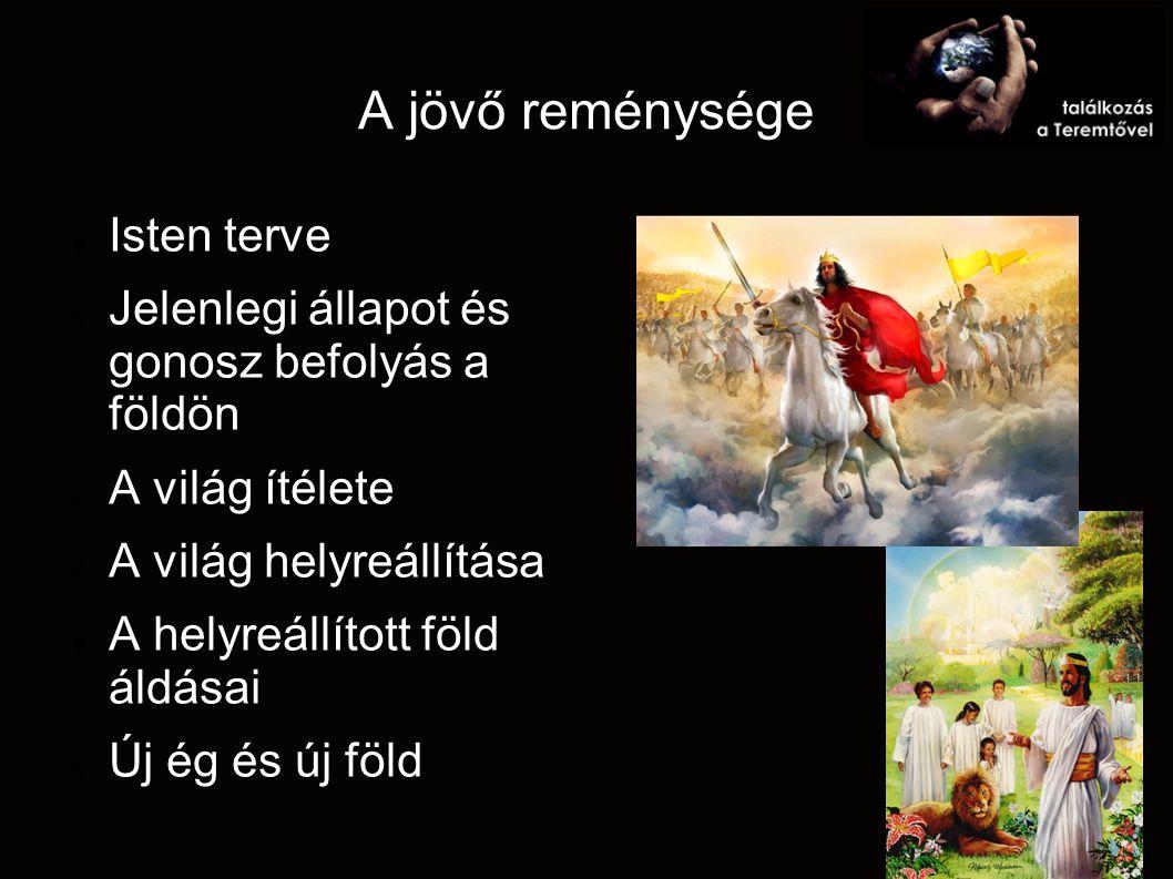 A jövő reménysége Isten terve Jelenlegi állapot és gonosz befolyás a földön A világ ítélete A világ helyreállítása A helyreállított föld áldásai Új ég