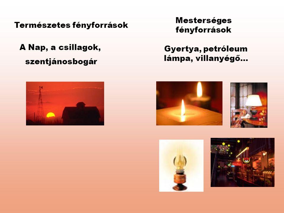 Természetes fényforrások Mesterséges fényforrások A Nap, a csillagok, szentjánosbogár Gyertya, petróleum lámpa, villanyégő...