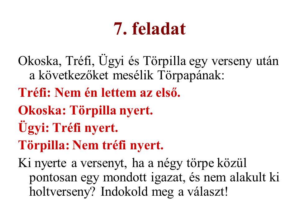 7. feladat Okoska, Tréfi, Ügyi és Törpilla egy verseny után a következőket mesélik Törpapának: Tréfi: Nem én lettem az első. Okoska: Törpilla nyert. Ü