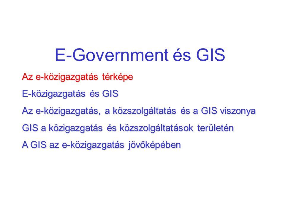 E-Government és GIS Az e-közigazgatás térképe E-közigazgatás és GIS Az e-közigazgatás, a közszolgáltatás és a GIS viszonya GIS a közigazgatás és közsz
