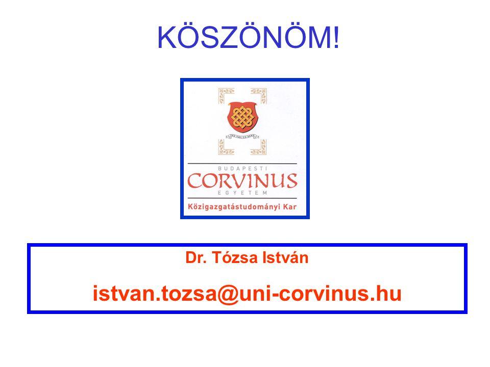 Dr. Tózsa István istvan.tozsa@uni-corvinus.hu KÖSZÖNÖM!