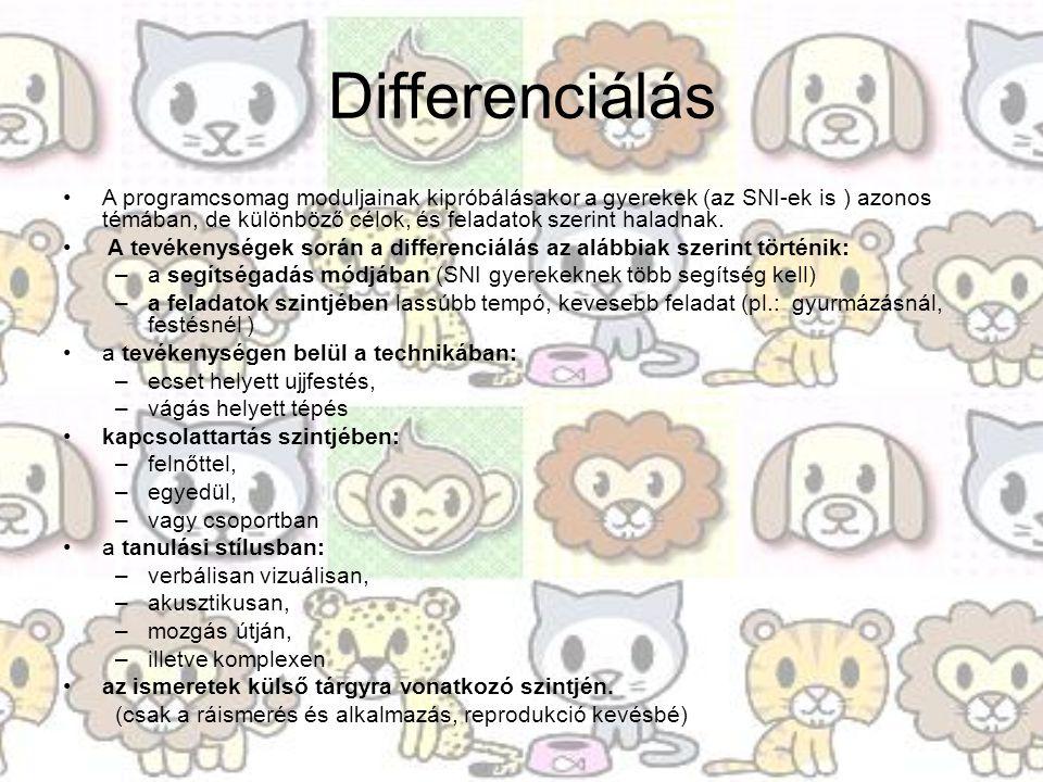 Differenciálás A programcsomag moduljainak kipróbálásakor a gyerekek (az SNI-ek is ) azonos témában, de különböző célok, és feladatok szerint haladnak