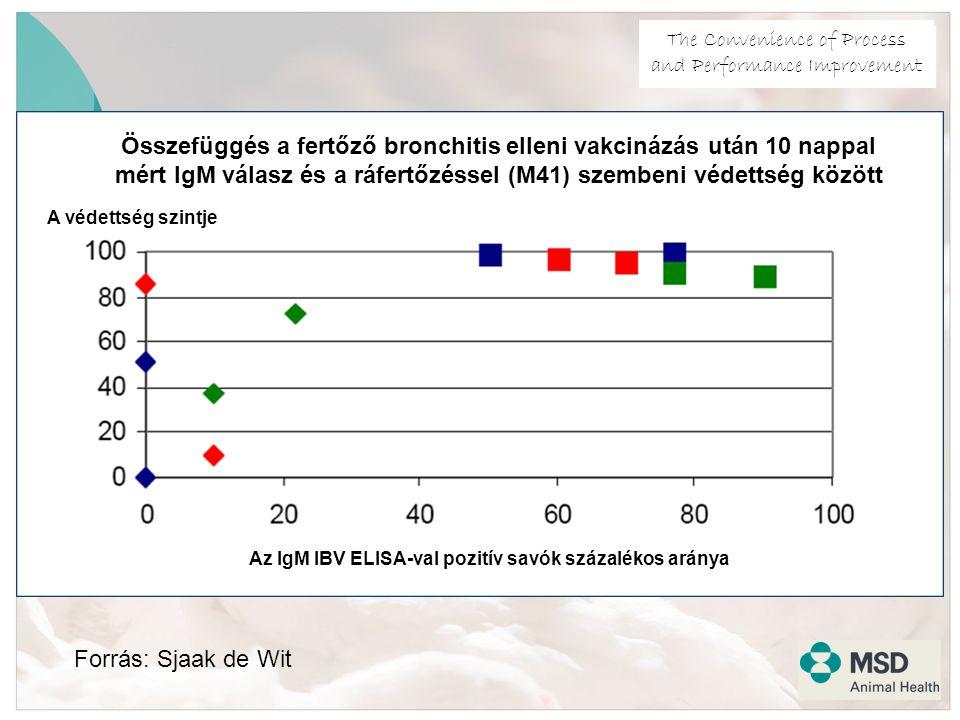 The Convenience of Process and Performance Improvement Forrás: Sjaak de Wit Az IgM IBV ELISA-val pozitív savók százalékos aránya A védettség szintje Összefüggés a fertőző bronchitis elleni vakcinázás után 10 nappal mért IgM válasz és a ráfertőzéssel (M41) szembeni védettség között