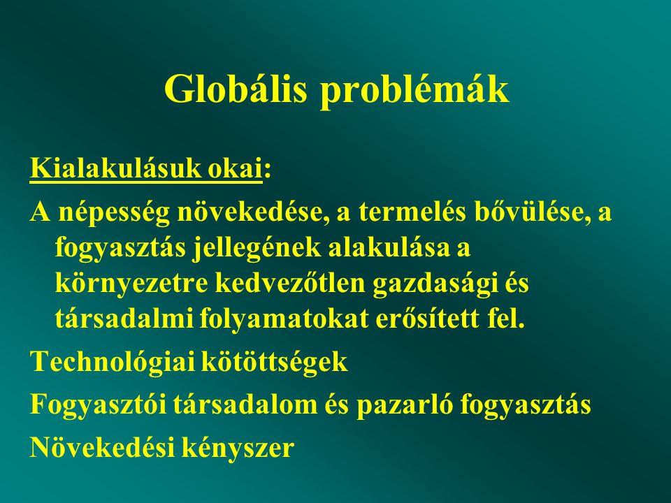 Globális problémák Kialakulásuk okai: A népesség növekedése, a termelés bővülése, a fogyasztás jellegének alakulása a környezetre kedvezőtlen gazdasági és társadalmi folyamatokat erősített fel.