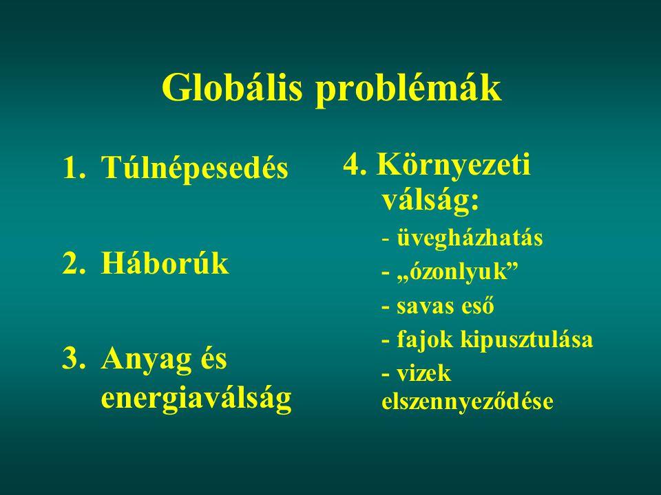 Globális problémák 1.Túlnépesedés 2.Háborúk 3.Anyag és energiaválság 4.