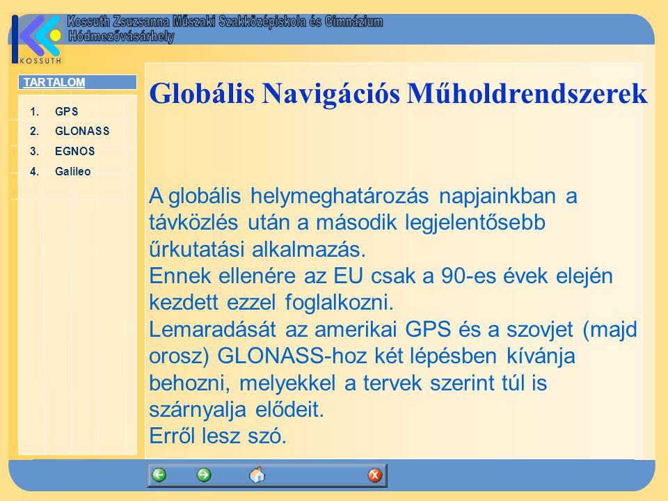 TARTALOM 1.GPSGPS 2.GLONASSGLONASS 3.EGNOSEGNOS 4.GalileoGalileo 1.A GPS – USA A GPS (Global Positioning System) története: 1974 – az USA Nemzetvédelmi Minisztériuma hozzákezd a NAVSTAR GPS rendszer kifejlesztéséhez.