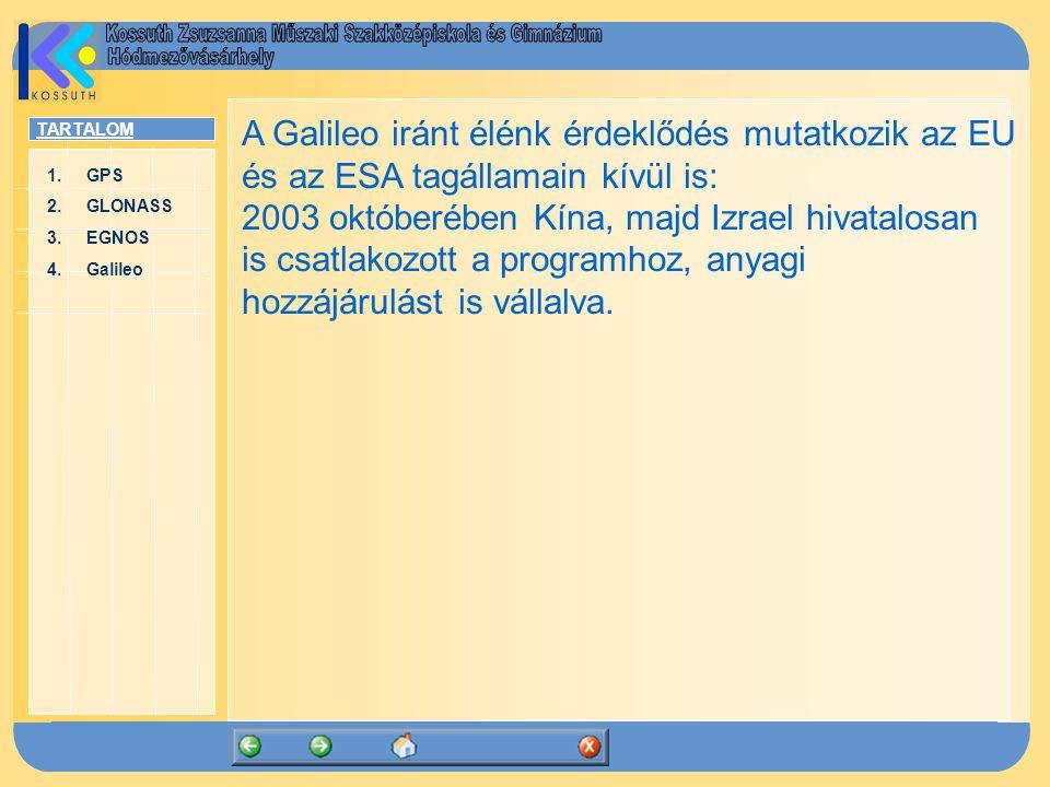TARTALOM 1.GPSGPS 2.GLONASSGLONASS 3.EGNOSEGNOS 4.GalileoGalileo A Galileo iránt élénk érdeklődés mutatkozik az EU és az ESA tagállamain kívül is: 200