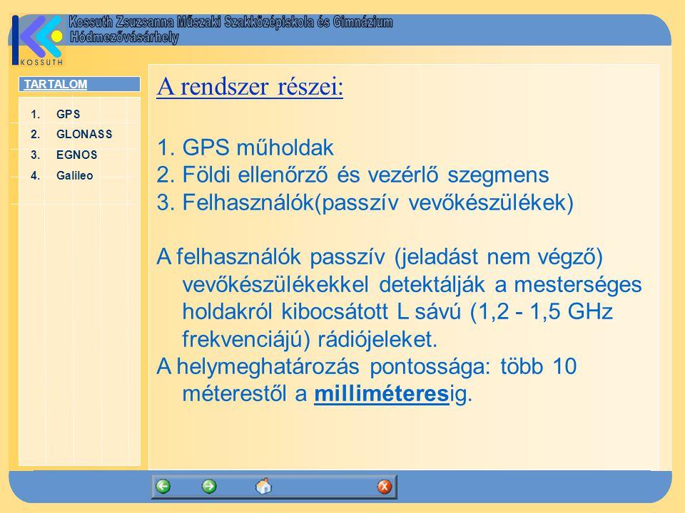 TARTALOM 1.GPSGPS 2.GLONASSGLONASS 3.EGNOSEGNOS 4.GalileoGalileo 4.